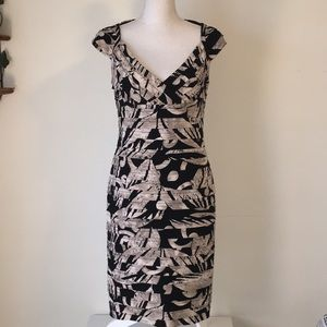 Adrianna Papell black and tan cocktail dress
